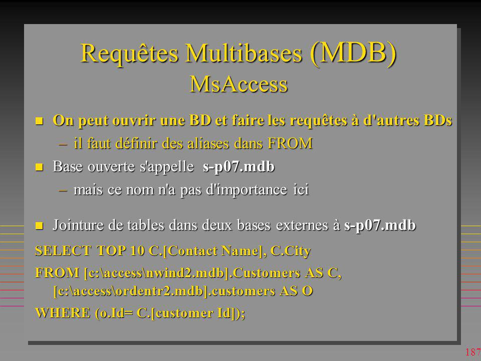 Requêtes Multibases (MDB) MsAccess