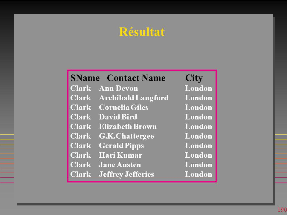 Résultat SName Contact Name City Clark Ann Devon London