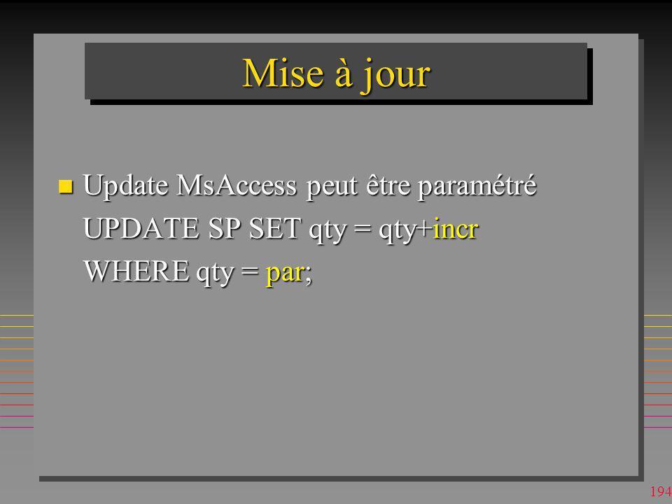 Mise à jour Update MsAccess peut être paramétré