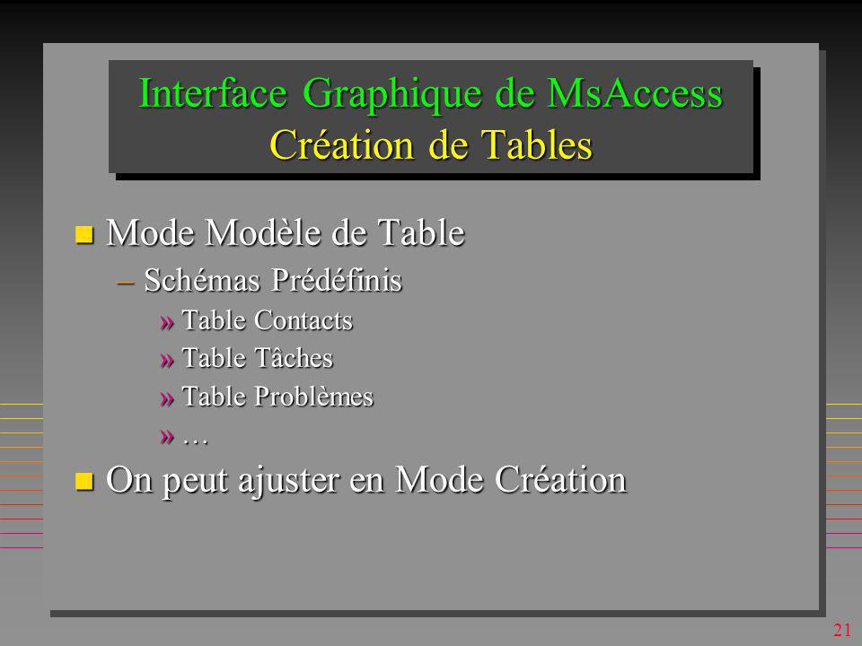 Interface Graphique de MsAccess Création de Tables