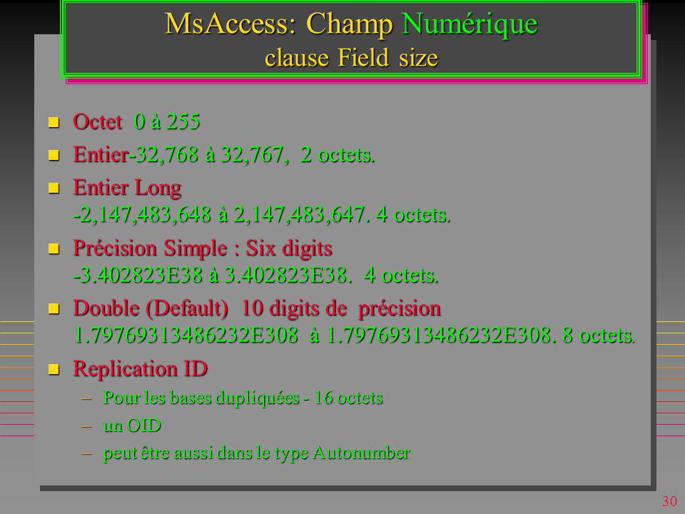 MsAccess: Champ Numérique clause Field size