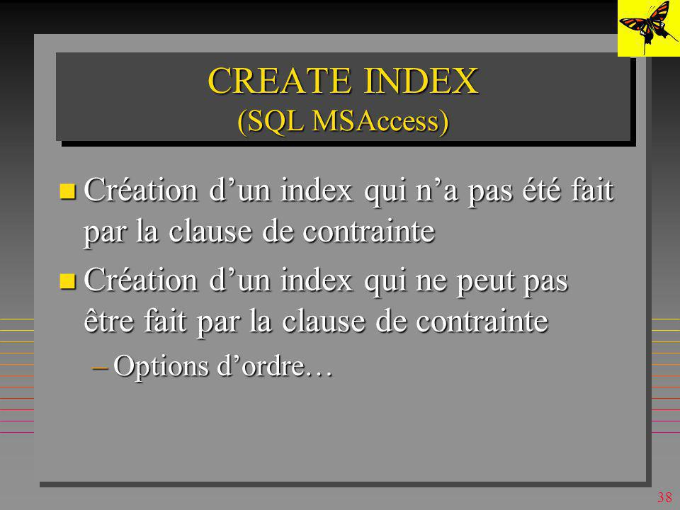 CREATE INDEX (SQL MSAccess)