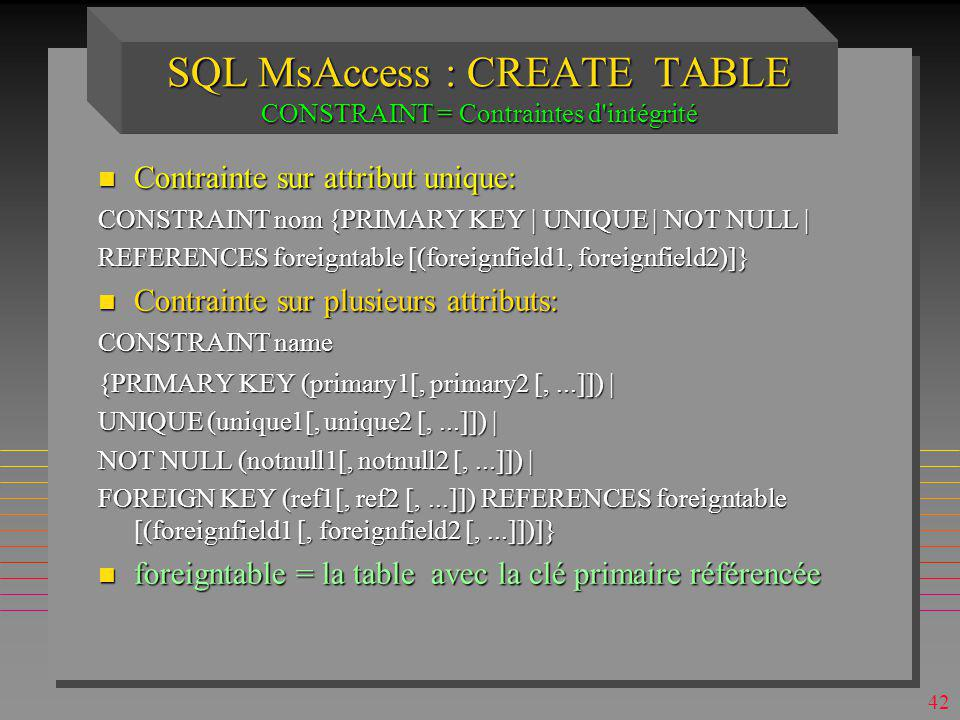 SQL MsAccess : CREATE TABLE CONSTRAINT = Contraintes d intégrité
