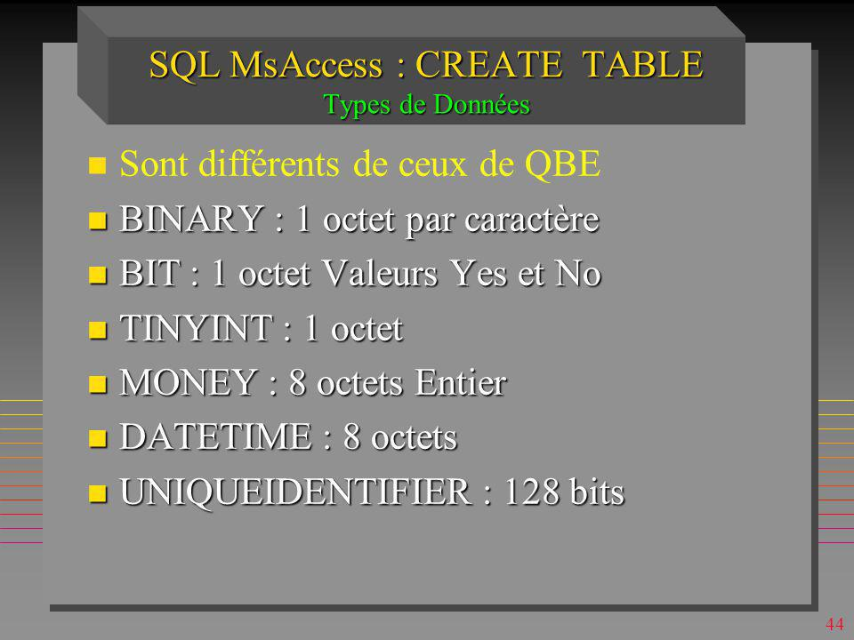 SQL MsAccess : CREATE TABLE Types de Données