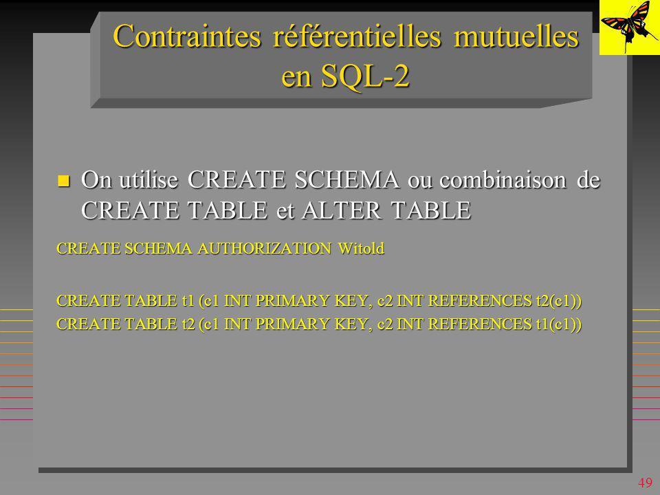 Contraintes référentielles mutuelles en SQL-2