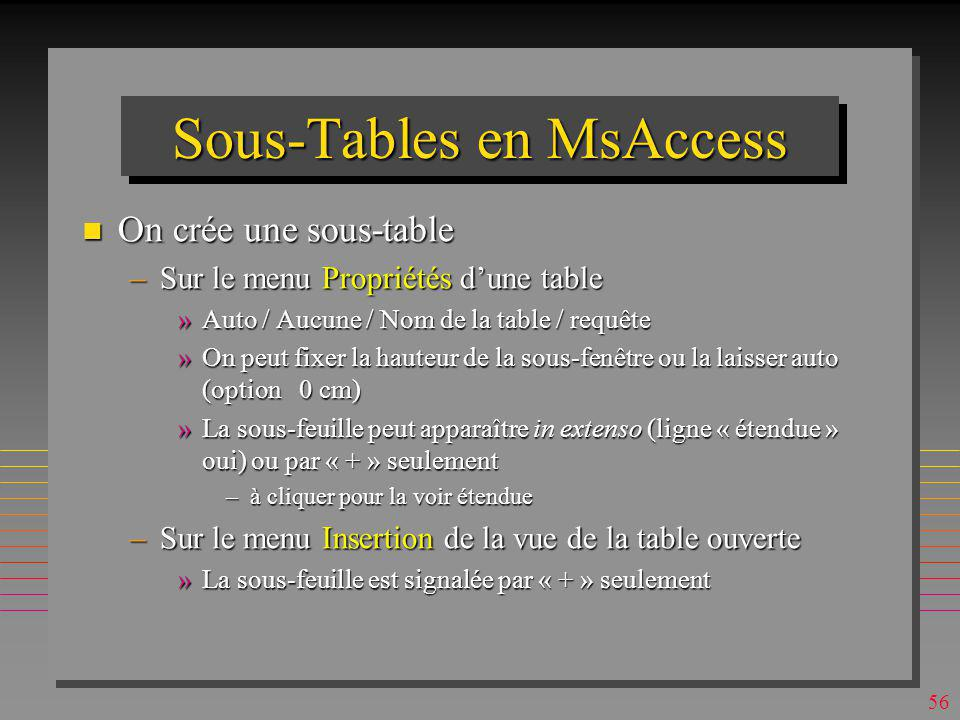 Sous-Tables en MsAccess
