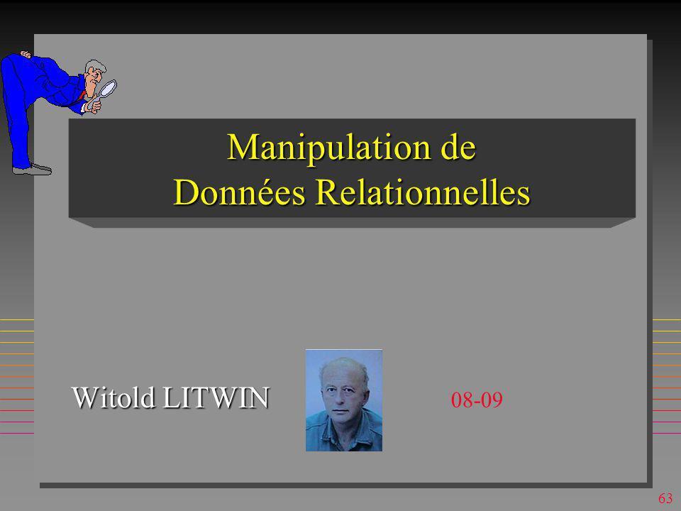Manipulation de Données Relationnelles