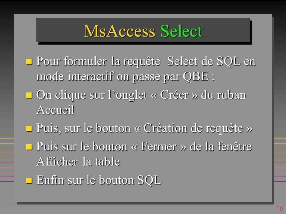 MsAccess Select Pour formuler la requête Select de SQL en mode interactif on passe par QBE : On clique sur l'onglet « Créer » du ruban Accueil.
