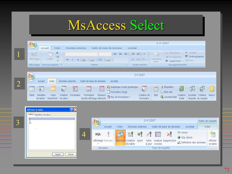 MsAccess Select 1 2 3 4