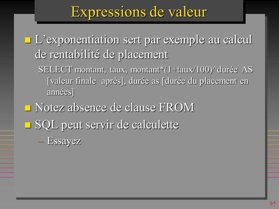 Expressions de valeur L'exponentiation sert par exemple au calcul de rentabilité de placement.