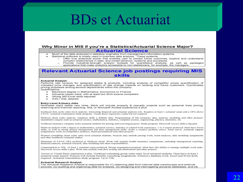 BDs et Actuariat