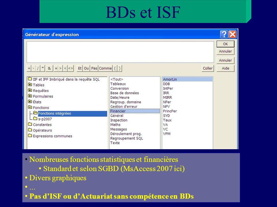 BDs et ISF Nombreuses fonctions statistiques et financières