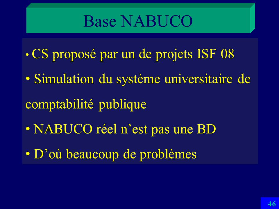 Base NABUCO CS proposé par un de projets ISF 08. Simulation du système universitaire de comptabilité publique.