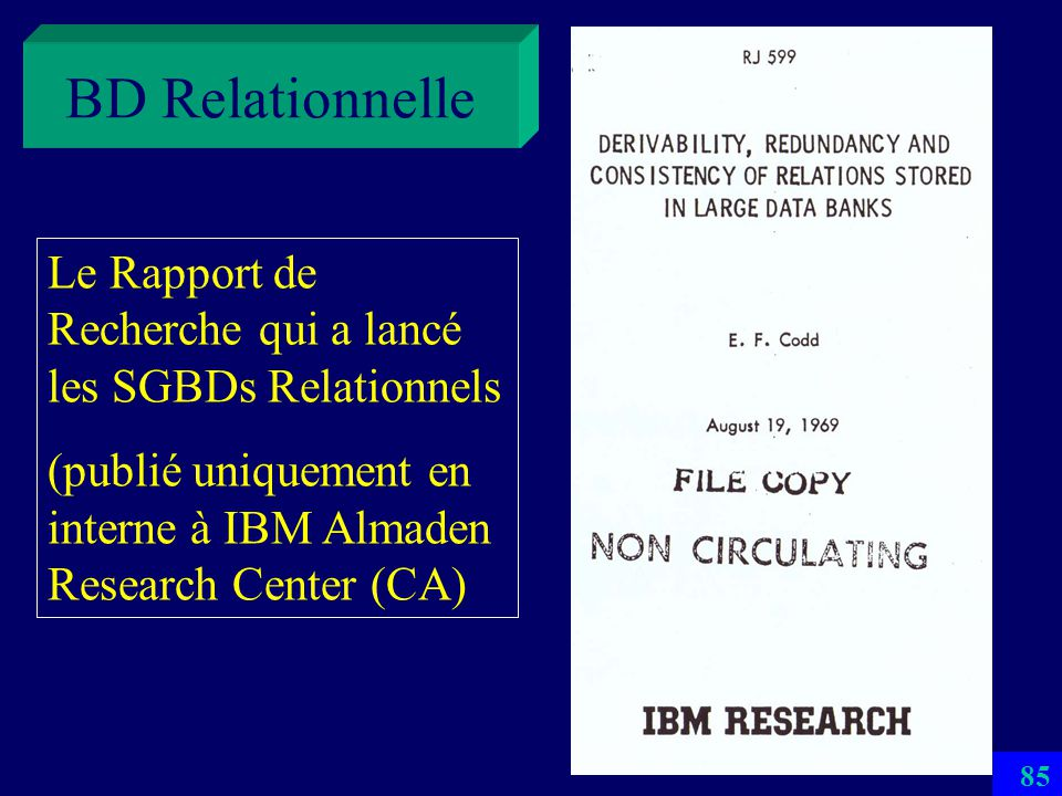 BD Relationnelle Le Rapport de Recherche qui a lancé les SGBDs Relationnels.