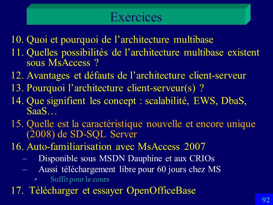 Exercices Quoi et pourquoi de l'architecture multibase
