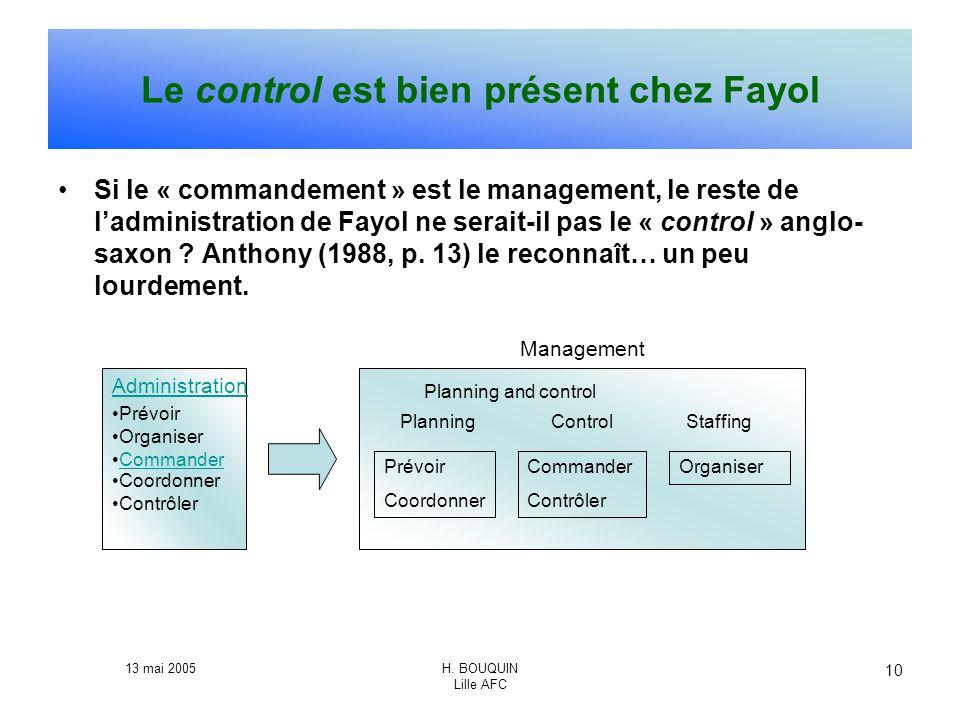 Le control est bien présent chez Fayol