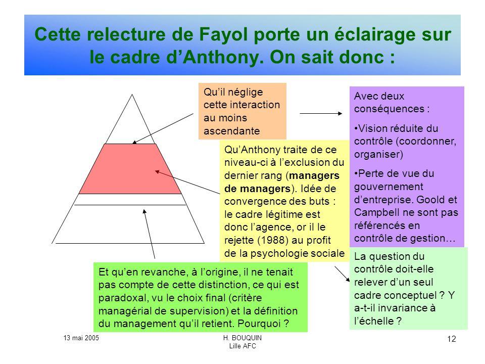 Cette relecture de Fayol porte un éclairage sur le cadre d'Anthony