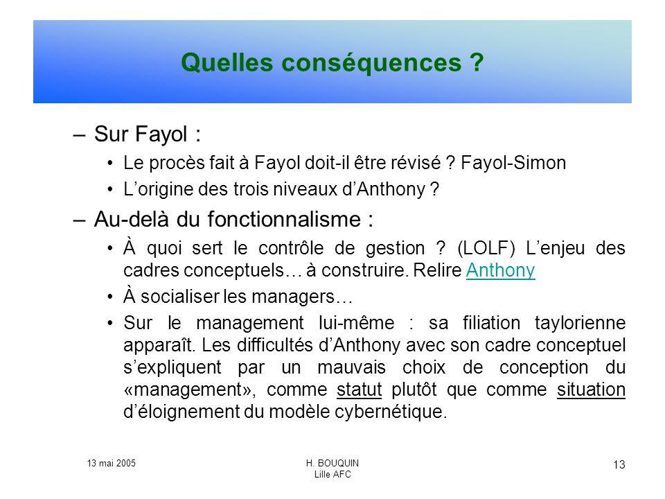 Quelles conséquences Sur Fayol : Au-delà du fonctionnalisme :