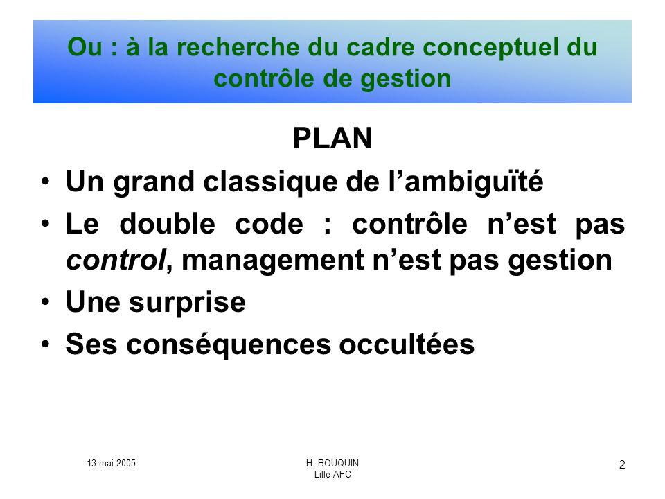 Ou : à la recherche du cadre conceptuel du contrôle de gestion