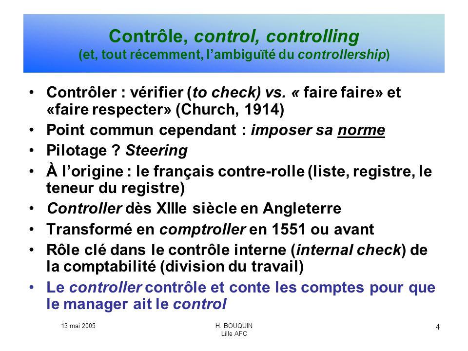 Contrôle, control, controlling (et, tout récemment, l'ambiguïté du controllership)