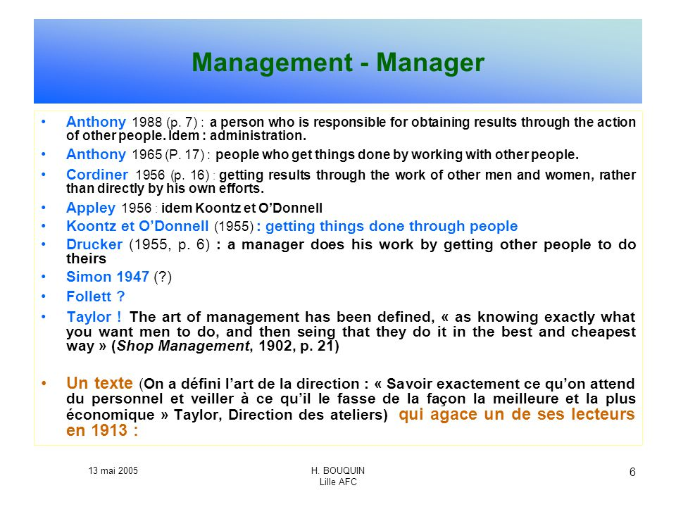Management - Manager
