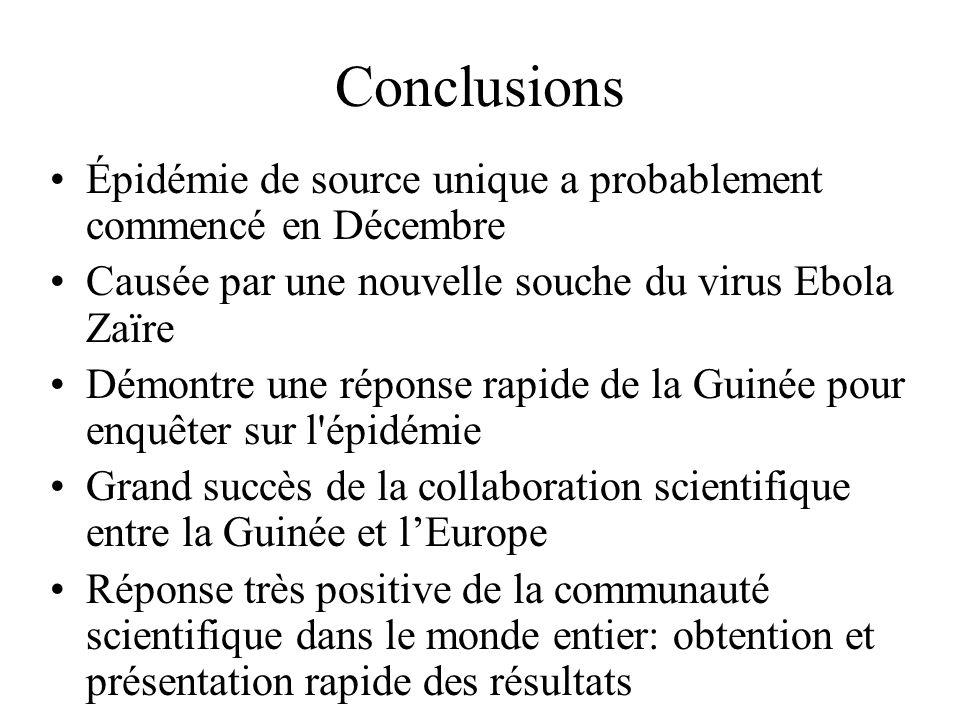 Conclusions Épidémie de source unique a probablement commencé en Décembre. Causée par une nouvelle souche du virus Ebola Zaïre.
