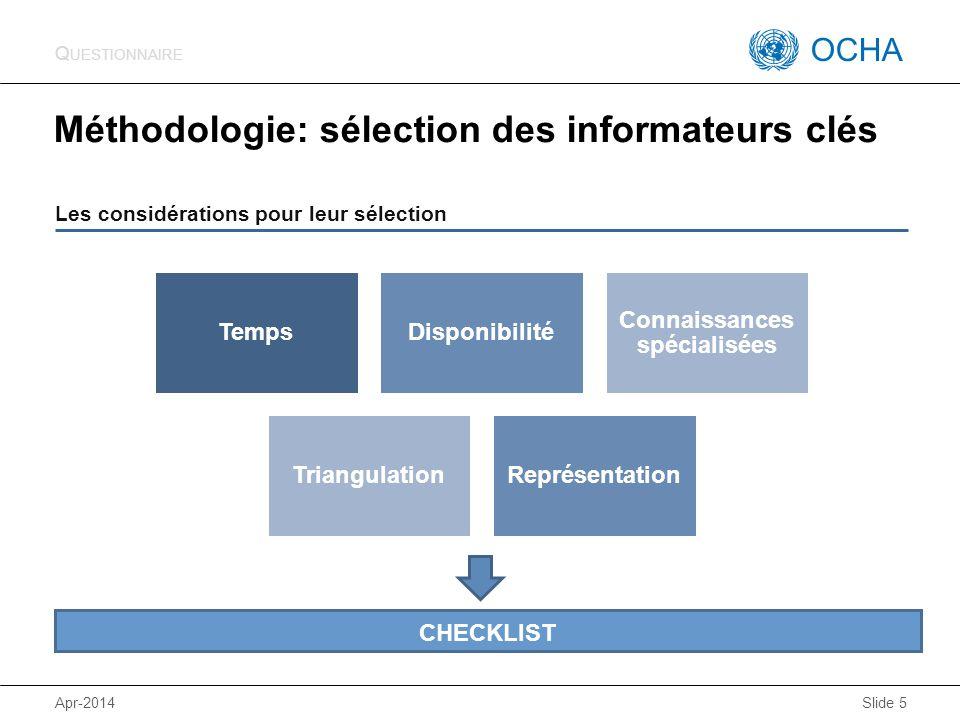 Méthodologie: sélection des informateurs clés