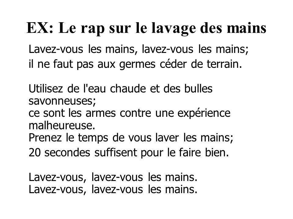 EX: Le rap sur le lavage des mains