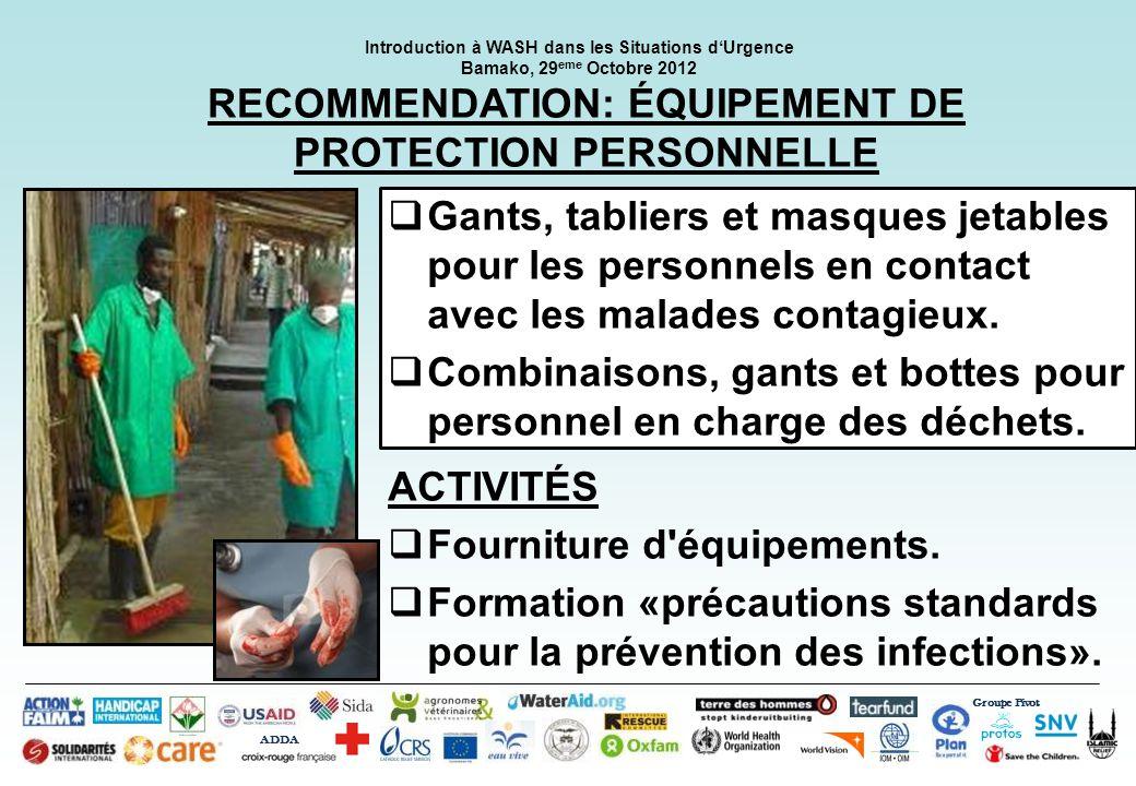 RECOMMENDATION: ÉQUIPEMENT DE PROTECTION PERSONNELLE