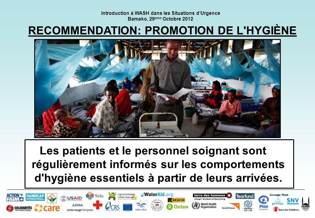 RECOMMENDATION: PROMOTION DE L HYGIÈNE