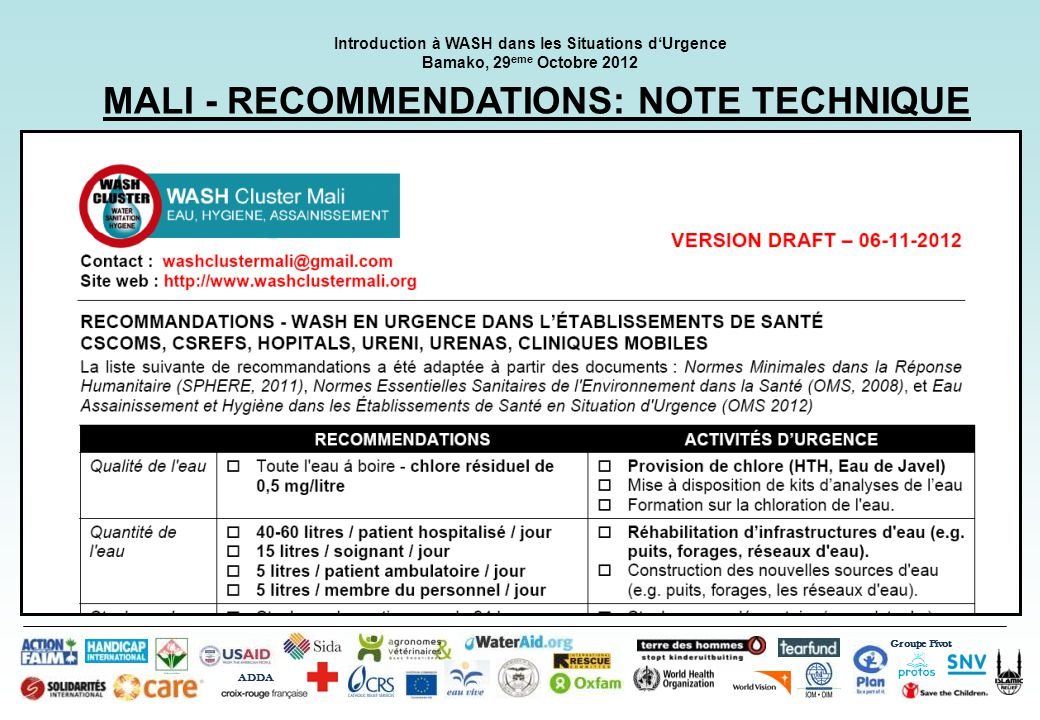 MALI - RECOMMENDATIONS: NOTE TECHNIQUE