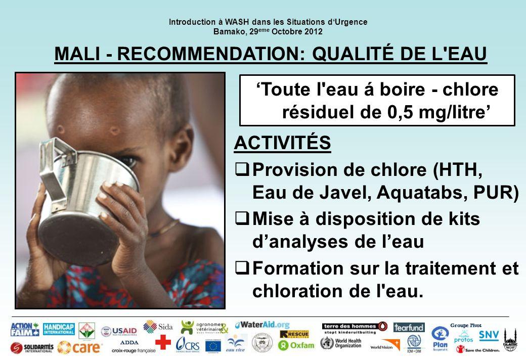 MALI - RECOMMENDATION: QUALITÉ DE L EAU