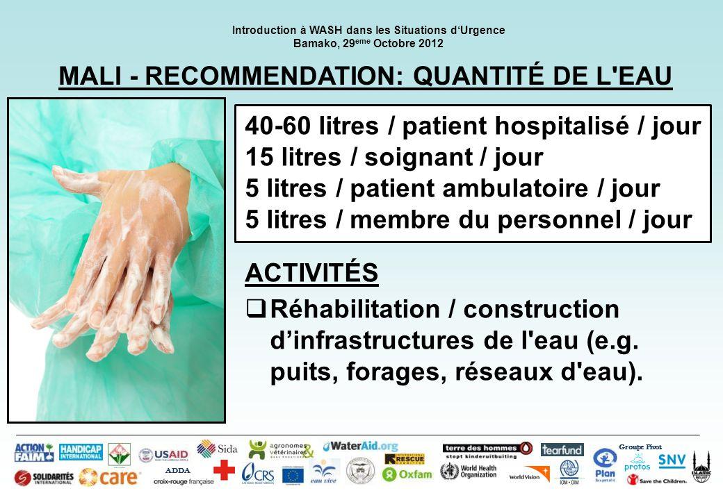 MALI - RECOMMENDATION: QUANTITÉ DE L EAU