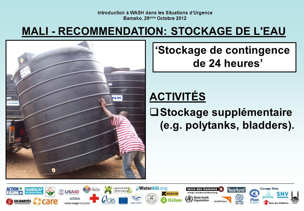 MALI - RECOMMENDATION: STOCKAGE DE L EAU