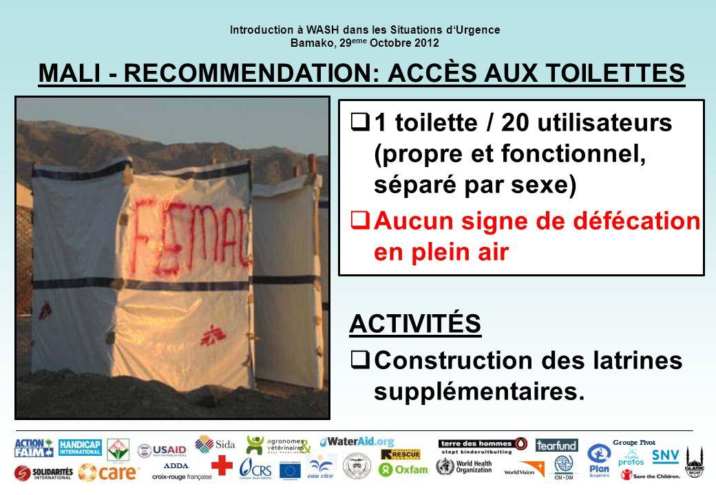 MALI - RECOMMENDATION: ACCÈS AUX TOILETTES