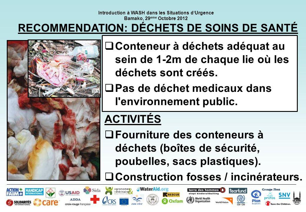 RECOMMENDATION: DÉCHETS DE SOINS DE SANTÉ