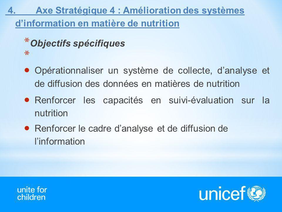 4. Axe Stratégique 4 : Amélioration des systèmes d'information en matière de nutrition