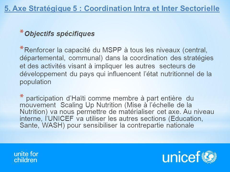 5. Axe Stratégique 5 : Coordination Intra et Inter Sectorielle