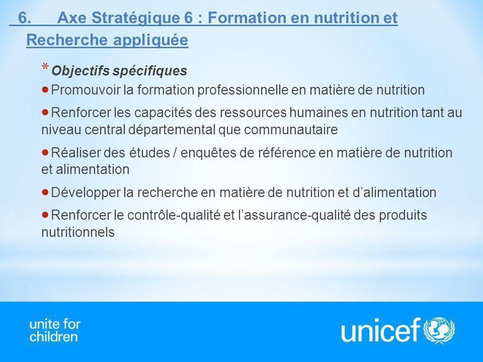 6. Axe Stratégique 6 : Formation en nutrition et Recherche appliquée