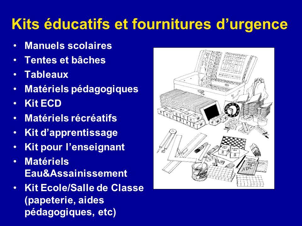Kits éducatifs et fournitures d'urgence