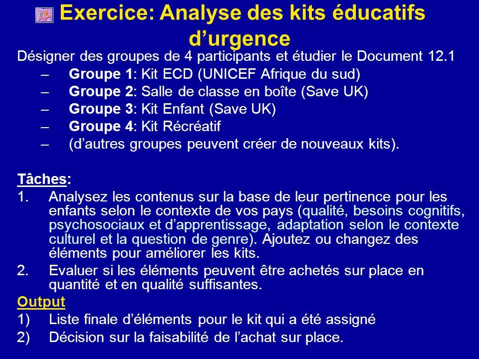 Exercice: Analyse des kits éducatifs d'urgence