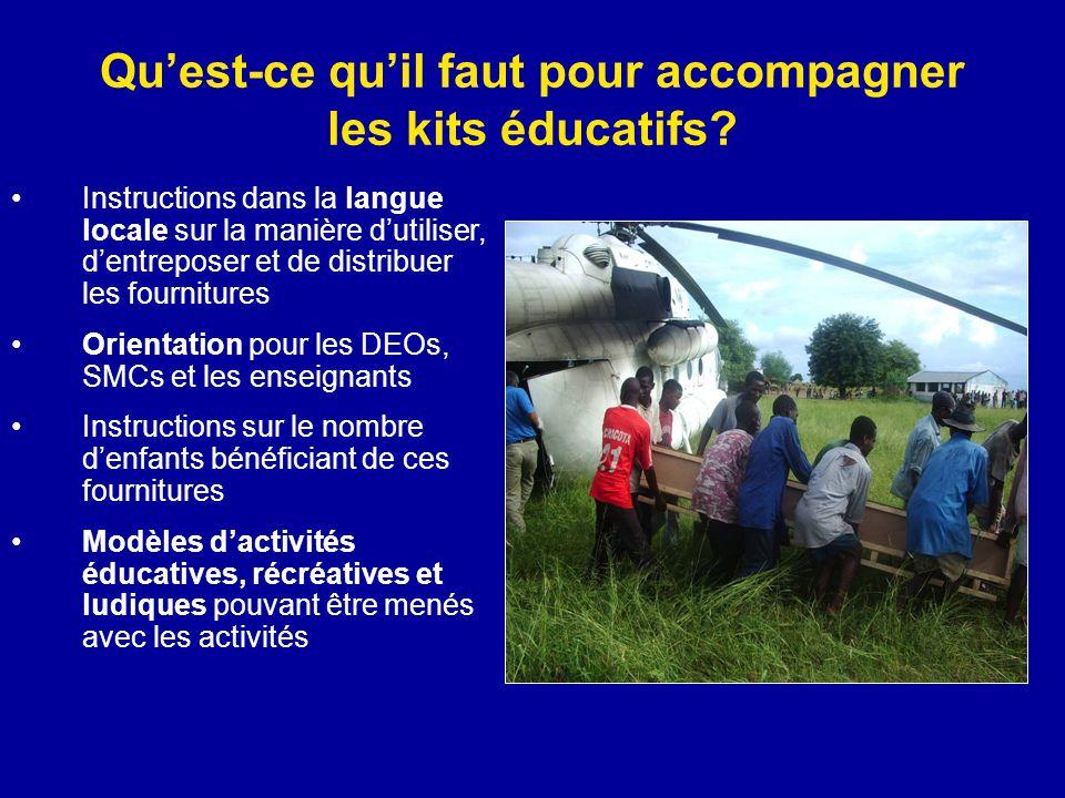 Qu'est-ce qu'il faut pour accompagner les kits éducatifs