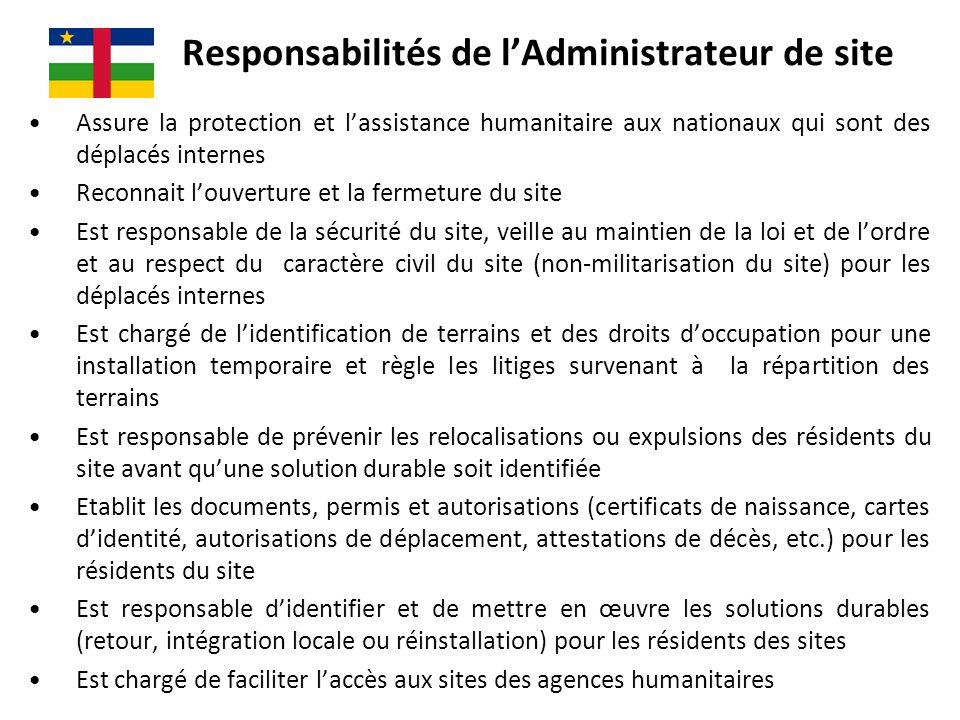 Responsabilités de l'Administrateur de site