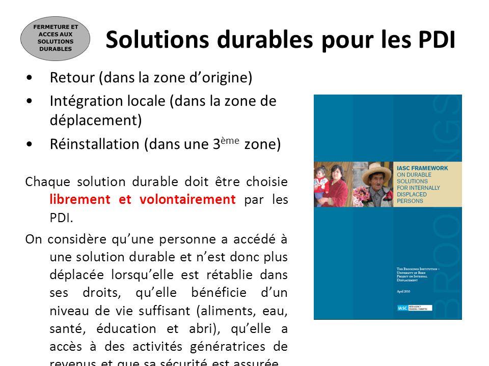 Solutions durables pour les PDI
