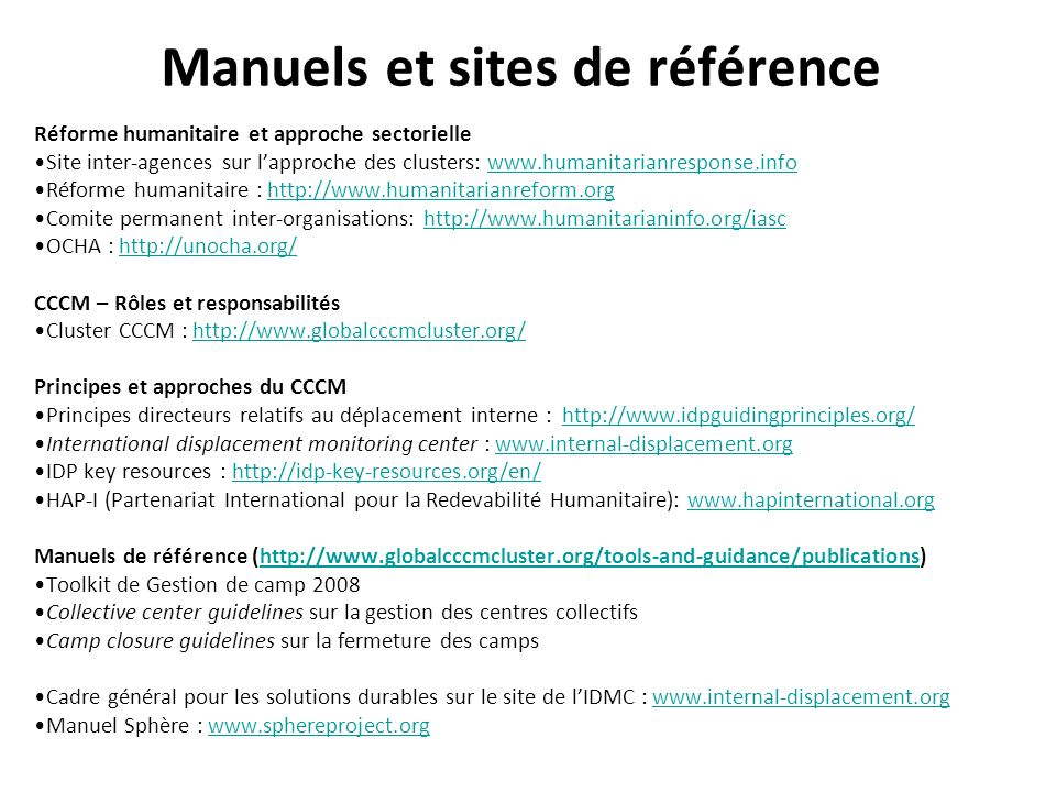 Manuels et sites de référence