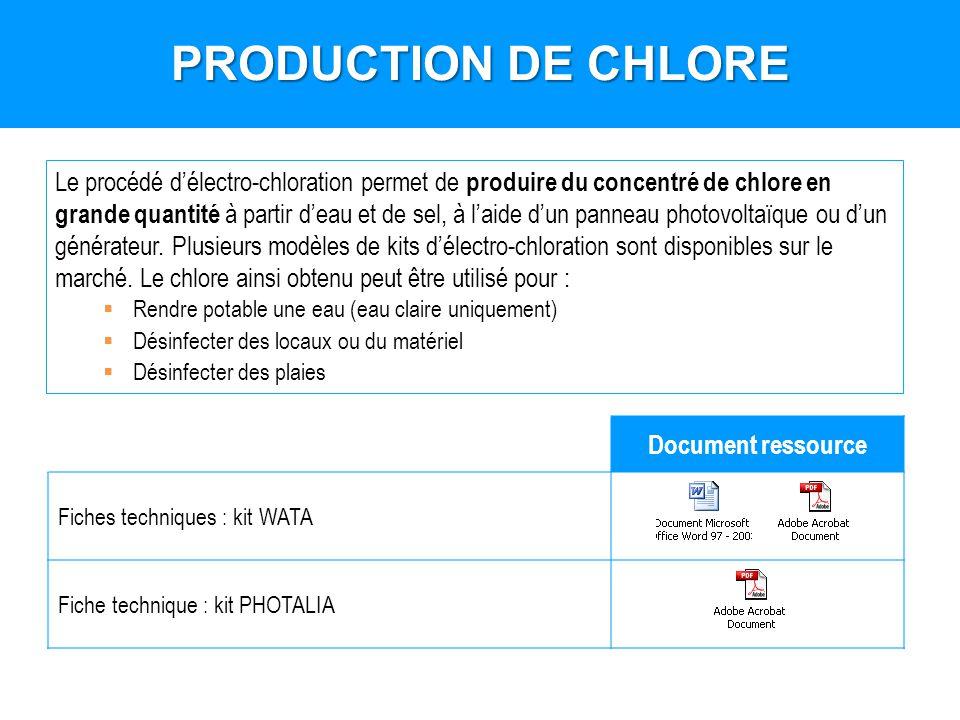 PRODUCTION DE CHLORE