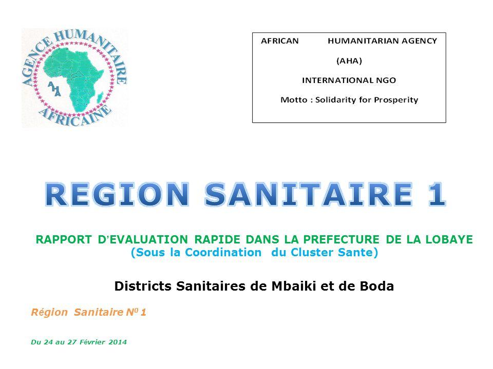 REGION SANITAIRE 1 MSPPLS Districts Sanitaires de Mbaiki et de Boda