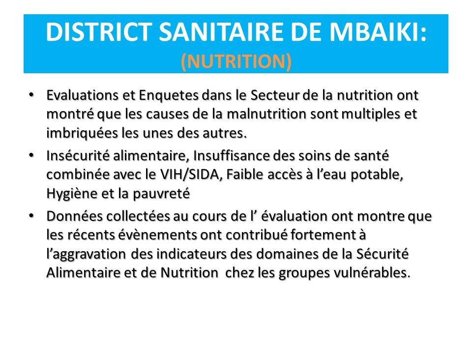 DISTRICT SANITAIRE DE MBAIKI: (NUTRITION)