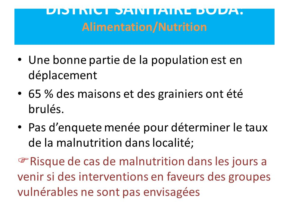 DISTRICT SANITAIRE BODA: Alimentation/Nutrition