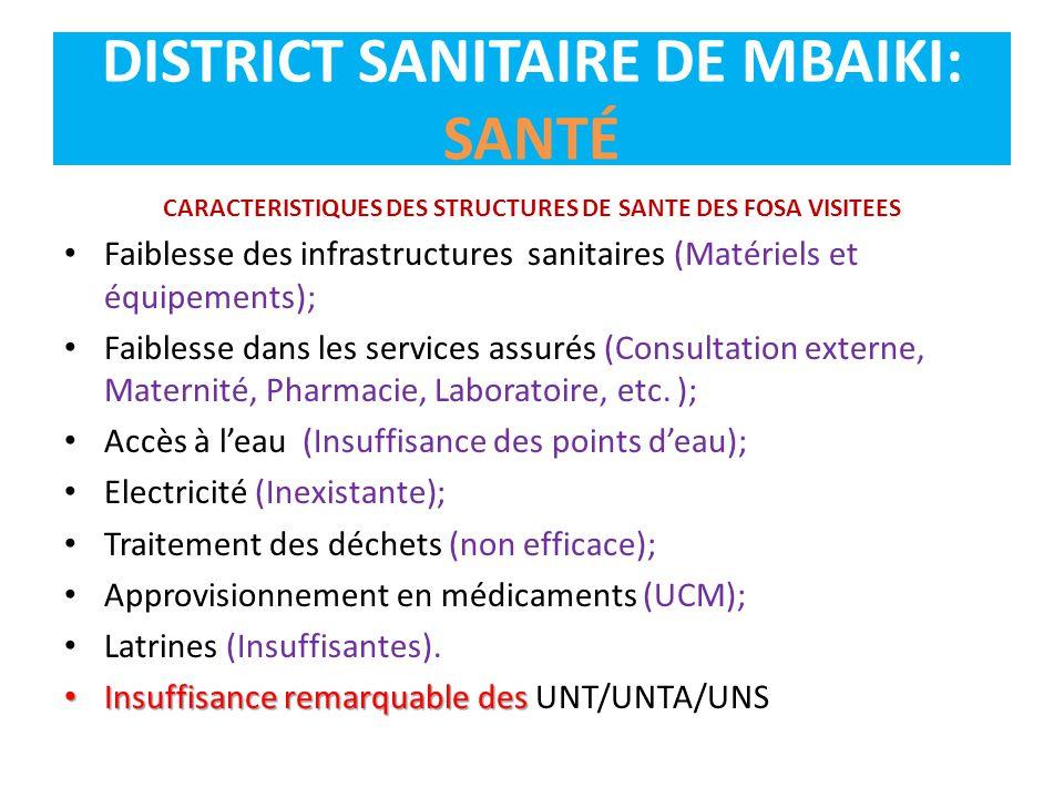 DISTRICT SANITAIRE DE MBAIKI: SANTÉ